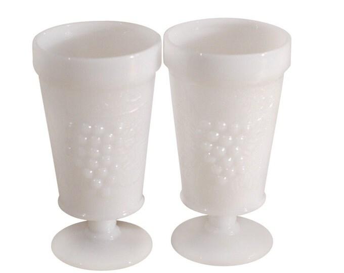 Vintage Estate Milk Glass Goblet (2)
