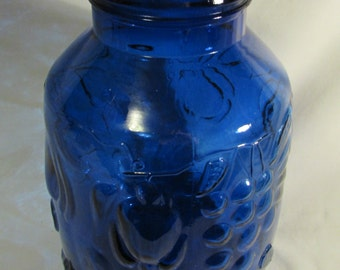 Jar, Blue Glass, Huge, Fruit Pattern, Italy