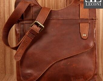 LECONI shoulder bag shoulder bag ladies leather small gewachstes cowhide leather Brown LE3034-wax