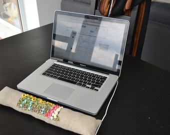 SALE Natural linen ribon  embroidered  computer keyboard support