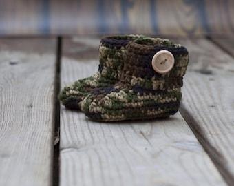 Crochet Baby Booties, Baby Booties, Baby Shoes, Baby Boots, Crochet Boot, Crochet Baby Shoes, Camo Baby Booties, Baby Boy Shoes