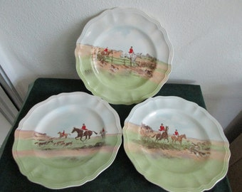 "Three Royal Doulton Hunt Scene 10 1/2"" Dinner Plates"