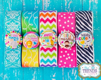 """Wildly Cute - Bright Animals Kit - Designer Grosgrain Ribbon and 1"""" Flat Back Buttons"""