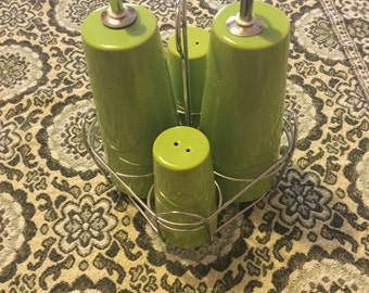 Very chic French lime green 50's/ 60's condiment set