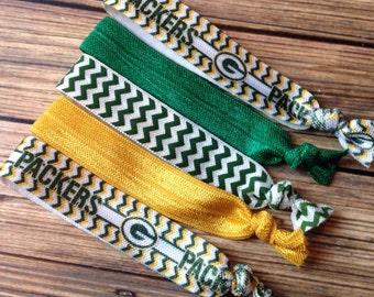 BOGO 50% OFF Green Bay Packers Hair Ties, Women's Hair Ties, Football Hair Ties, Set of Five