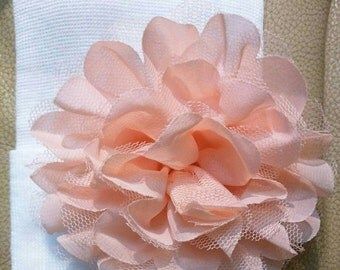 Newborn Hospital Hat W/ Peach Flower! White Newborn Hat for Your Baby. Every Baby Girl Should Have One! Great Photo Prop Too!