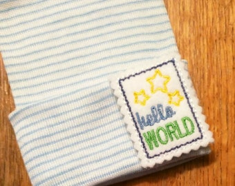 Newborn Hospital Hat Hello World! White and Blue Stripe Newborn Hat for Your Baby. Every Baby Should Have One.Perfect for Gender Reveal too!