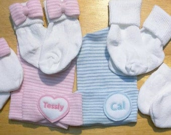 Twins! Two Newborn Hospital Hats With Names! You Choose Gender Newborn Baby Hats! Great for Gender Reveal. You pick Hat Color