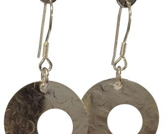 Sterling Silver Disk Dangle Drop Earrings