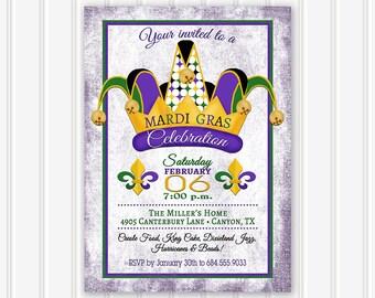 Mardi Gras Invitation, Mardi Gras Party, Mardi Gras Invite, Fat Tuesday Invitation, Masquerade Party Invitation, New Orleans, Purple, Green