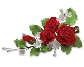 Gum Paste Red Rose Cascade/ Edible Full Rose Cascade/ Rose Cake Topper/ Edible Flower Wedding Topper/ Edible Flowers/ Cake Topper