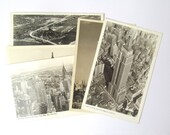 New York vintage postcards: set of 5 black and white cards of the US city Collectible ephemera or for use in scrapbook, travel journal PC120
