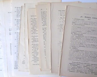 Vintage school text book pages: pack of 20 sheets from various books. Ephemera for craft, scrapbook, collage, decoupage. PG123