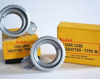 Kodak Cine Lens Adapter Type M for 8 or 16mm Cameras in Original Box x2