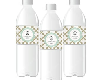 Birdcage Party Personalized Water Bottle Labels, (Set of 24)