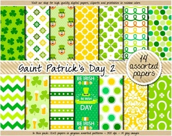 SALE St Patricks Day digital paper Leprechaun digital paper Green digital paper Irish patterns Pot of Gold Shamrock Clover Horseshoe clipart