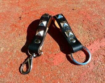 Handmade leather keychain in black with pyramid studs