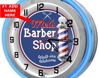 Barber Shop Personalized Blue Neon Clock
