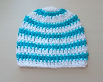 Baby boy hat Crochet baby hat Striped baby hat Crochet newborn hat Newborn hospital hat Turquoise and white hat Baby hats for boys