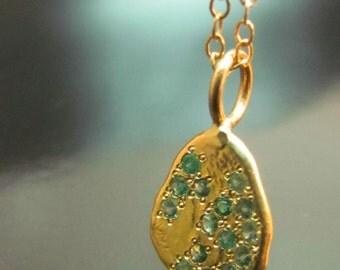 14 Karat soild yellow gold necklace, pendant set natural Tourmaline, Handmade.