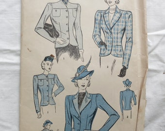 40s Jackets Pattern Advance 2175 Size 14 Bust 32 1940s Vintage Sewing Pattern