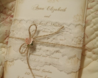 Blush Pink Roses, Lace Band Romantic, Paris, Shabby, Rustic, Victorian Wedding Invitation, Jute, Peach, Coral, Quinceanera, Woodland