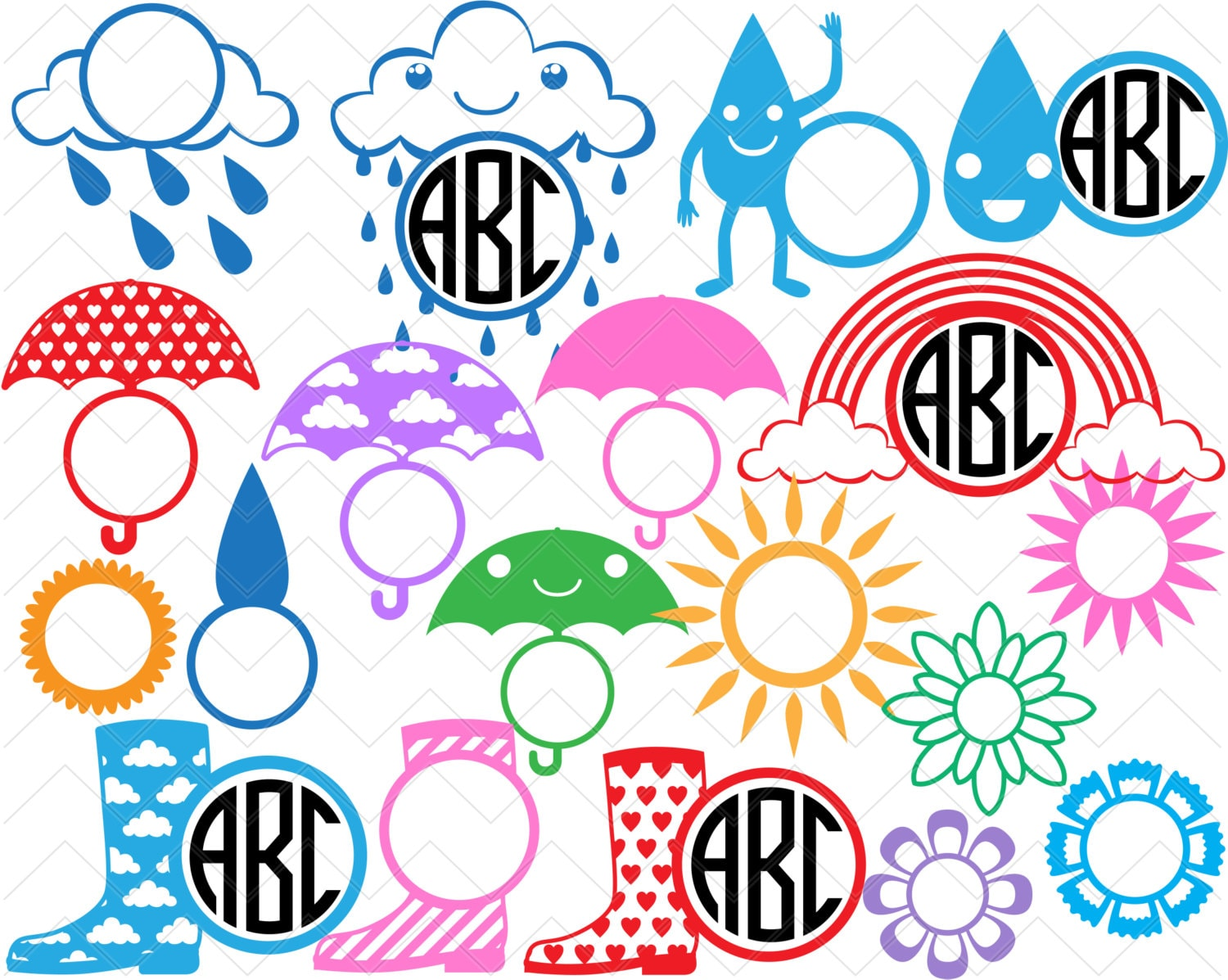 big circle monogram funny rain
