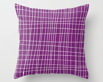 Purple Pillow Cover, Geometric Pillow Cover, Grid Pillow Cover, purple throw pillow, Minimalist Decor, organic pillow, cotton pillow