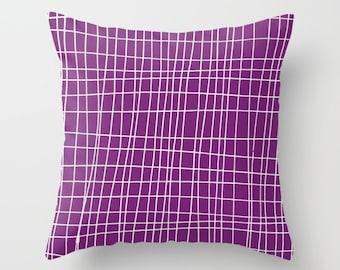 Purple Pillow Cover, Geometric Pillow Cover, Grid Pillow Cover, purple throw pillow cover, Minimalist Decor