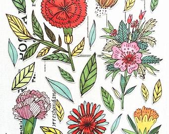 Plant Sticker, Flowers Sticker, Scrapbooking