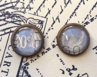 French Postage Stamp Earrings