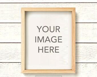 vertical light wood natural wood frame photo mockup on clapboard white wood plank shiplap wall - Natural Wood Frame