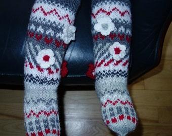 Handknitted long, over the knee socks (1 pair)