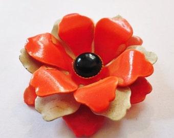 50% OFF Vintage 60's 3D Handpainted Neon Orange Metal Flower Brooch
