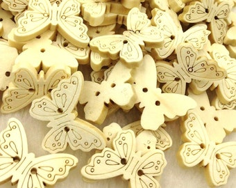 100pcs Butterfly Wood Buttons 22*17mm Sewing Craft Two Holes WB251