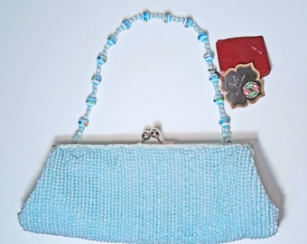 NWT Vintage JN's Classic Styles Baby Blue Beaded Evening Bag Kiss Lock Closure Satin Lining 2 Optional Straps