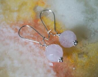 Rose Quartz Earrings, Gemstone Earrings, Silver Plated Earrings,Rose Earrings,Earrings Hooks,Silver Earrings,Kidney Earrings