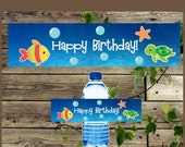 DIY Printable Water Bottle Label, Sea Animals Bottle Label, First Birthday Under the Sea Them Party, Instant Download Bottle Labels
