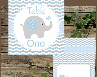 Baby Blue Elephant Table Numbers and Food Tents, Instant Download, 8 Printable Table Numbers and Place Cards for Baby Shower Blue Elephant