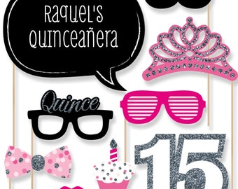 Quinceanera - Sweet 15 - Pink Birthday Party Photo Booth Props - Birthday Party Photobooth Kit with Custom Talk Bubble - 20 Pieces
