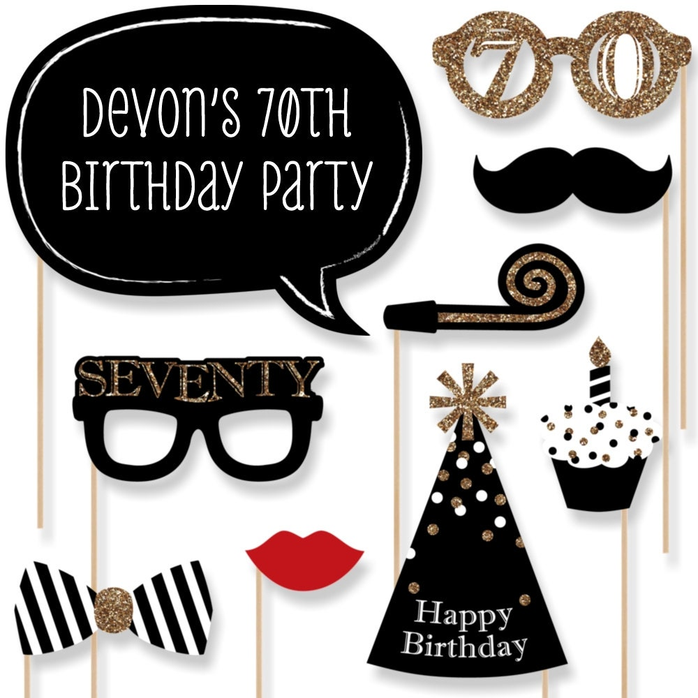 photo prop ideas for adults - 70th Birthday Gold Party Booth Props Adult Birthday