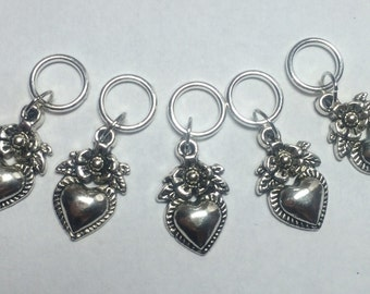 Sacred Heart Knitting Stitch Markers - Set of 5