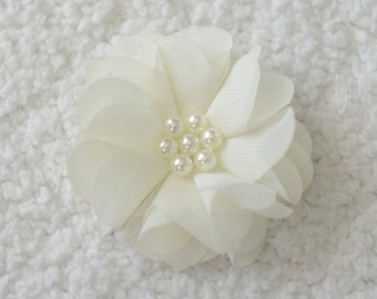 2.5 inch Chiffon Flower with Pearl, Wholesale Chiffon Flower Heads for Flower Head Bands, Embellishment, Lot of 1, 2, 5 or 10, Ivory
