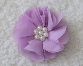 2.5 inch Chiffon Flower Heads, Wholesale Pearl Hair Flowers for New Baby Headbands, Embellishment, Lot of 1, 2, 5 or 10, Lavender