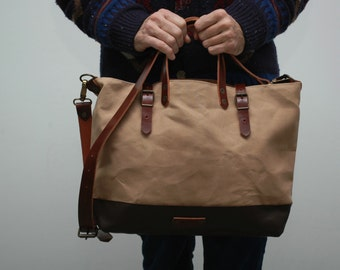 waxed canvas bag/tote bag/with leather handles and closures,sand color