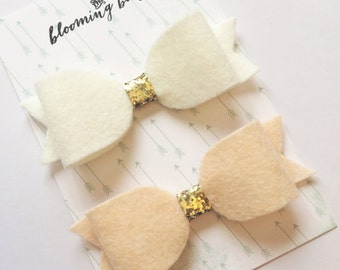 Ivory and Blush Girls and Baby Hair Bow Felt Clip Set
