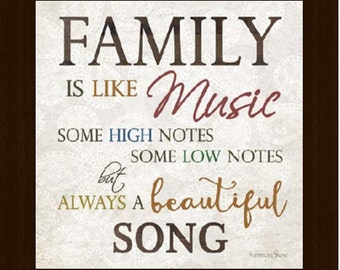 """Family Is Like Music Beautiful Song Gift Framed Decor Framed Art Picture 10x10"""""""