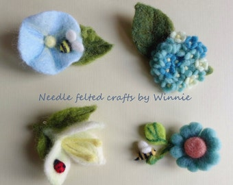 Needle felted flower brooch- handmade wool pin each sold individually