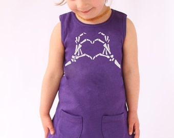 Alternative Girls Dress / Skeleton Love Girls Purple Dress / Outfit / Rockabilly Girl Gift - Baby- Toddler sizes