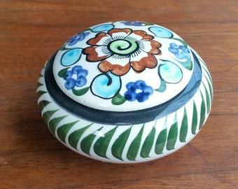Tonala folk art covered bowl Mexico